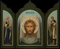 Спас нерукотворный, Богородица, Иоанн Предтеча (складень), 100х82, 2020 г.