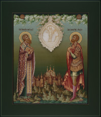 Кирилл равноапостольный, Меркурий великомученик, 27х31, 2020 г.