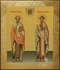 Николай Мирликийский и Спиридон Тримифунтский, 27х31, 2015 г.