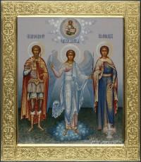 Федор Стратилат, Ангел Хранитель, Надежда (семейная икона), 27х31, 2015 г.