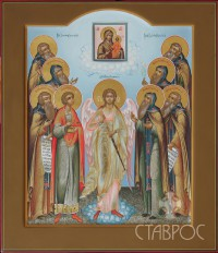 Ангел Хранитель с избранными святыми (семейная икона), 27х31, 2013 г.