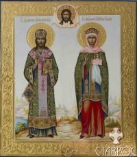 Димитрий Ростовский и Княгиня Ольга (семейная икона), 27х31, 2013 г.