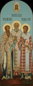 Местный ряд, Василий Великий, Григорий Богослов, Иоанн Златоуст, 62х156, 2017 г.