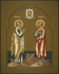 Апостолы Петр и Павел, 37х47, 2018 г.